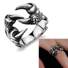 Wolf Claw Cool Ring For Men Made Of Stainless Steel Never Fade Nickle Free Non-poisonous and Environment-friendly Finger Rings $3.99