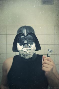 Even Darth needs to look his best before ruling the Universe...
