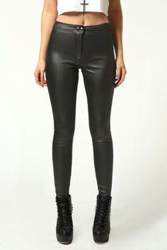 Rae Black Wet Look Back Pocket Trousers