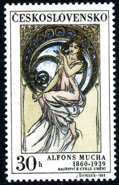 """stock photo : CZECHOSLOVAKIA - CIRCA A stamp printed in Czechoslovakia, shows women allegory """"Music"""" paintings by Alfons Mucha, circa 1969 Old Stamps, Vintage Stamps, Alfons Mucha, Art Nouveau Mucha, Illustrator, Prague, Music Painting, Painting Art, Postage Stamp Art"""