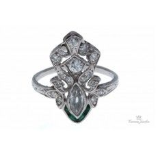 Art Deco Platinum Diamond & Emerald Ring. One 0.30ct