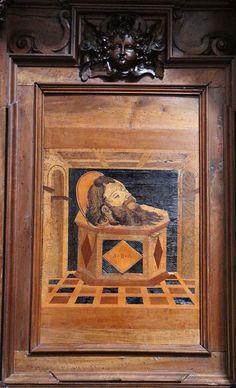 Fra Damiano Zambelli - testa di San Bartolomeo apostolo - tarsie del coro - 1510-20 circa - Chiesa dei Santi Bartolomeo e Stefano - Bergamo (Italia)