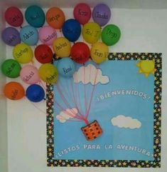 Trendy Door Decorations Welcome Bulletin Boards Ideas Welcome Bulletin Boards, Back To School Bulletin Boards, Classroom Board, Classroom Displays, Preschool Classroom, Classroom Themes, Preschool Activities, Hot Air Balloon Classroom Theme, Decoration Creche