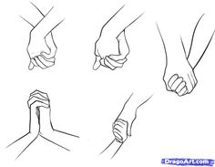 Anime holding hands