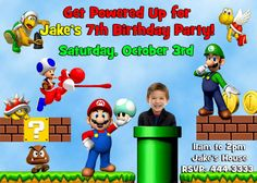 Super mario brothers birthday party invitations by KidsInvitations