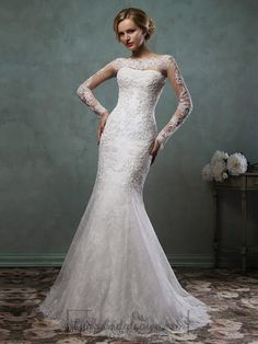 Long Sleeves Mermaid Lace Wedding Dresses