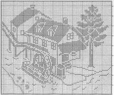 Cross Stitch Alphabet Patterns, Math Patterns, Fair Isle Knitting Patterns, Crochet Patterns, Cross Stitch House, Filet Crochet Charts, Cross Stitch Landscape, Fillet Crochet, Tapestry Crochet