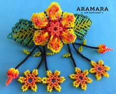 Mexican Huichol Beaded Hair clip BR-020 Mexican Jewelry by Aramara