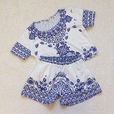 Two piece crop top and shorts blue and white Beautiful blue and white two piece set! Comes with crop top and shorts!  The tag says size large but it fits more like a small/ medium. I have a very long torso so the pants and top weren't quite where I wanted them to hit, but would look stunning on someone with a shorter torso! Never worn except to try it on. Bright blue and white . Smoke and pet free home. Make an OFFER today!  happy shopping! ❤️ Tops Crop Tops