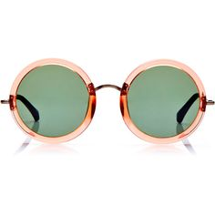 Linda Farrow + The Row Round Oversized Acetate Sunglasses ($450) ❤ liked on Polyvore featuring accessories, eyewear, sunglasses, glasses, shades, pink, acetate sunglasses, over sized sunglasses, rounded sunglasses and linda farrow glasses