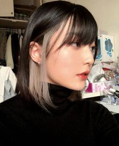 Hidden Hair Color, Two Color Hair, Korean Hair Color, Hair Color Streaks, Hair Highlights, Black Hair Grey Highlights, Korean Hair Dye, Hair Korean Style, Blonde Streaks