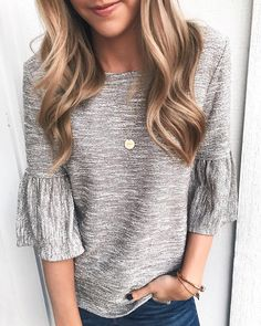 Beautiful bell sleeve top. Perfect bell sleeve sweater for the transition from winter to spring.