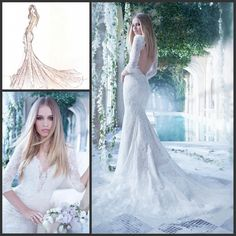 Wholesale Mermaid Wedding Dresses - Buy Charming White Lace And Tulle Mermaid Wedding Dresses V-Neck 3/4Long Illusion Sleeve Backless Applique Beading Sweep Train Vestido De Noiva4, $184.0 | DHgate