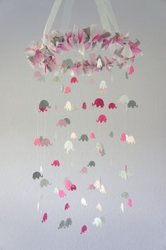 Pink Gray Girl Elephant Nursery Mobile- Crib Mobile, Baby Shower Gift, Nursery Decor. .