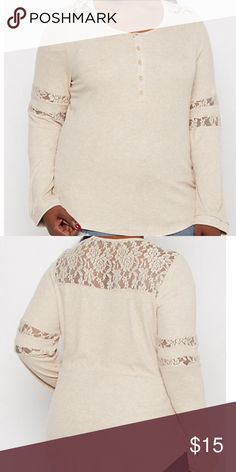 Lace insert Henley top NWT Cozy down with this modern take on a traditional favorite in this Henley top It's made of breathable rib knit featuring rosy lace inserts along sleeves and yoke The look is complete with a five button placket 62% polyester 33% rayon 5% rayon NWT Rue 21 Tops