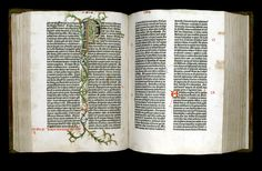GUTENBERG-BIBLE: Johann Gutenberg, pages from the Gutenberg Bible, 1450–55. The superb typographic legibility and texture,generous margins, and excelle nt presswork make this first printed book a canon of quality that has seldom been surpassed. An illuminator added the red and blue headers, initials, and decoration by hand.
