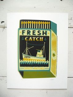 Tom Frost Fresh Catch Print: 'Fresh Catch' hand pulled limited edition screen print by Tom Frost. -A four colour screenprint on heavy Fabriano paper. -This print features a fishing boat illustration. -Signed and numbered by the artist -Edition of 85 Boat Illustration, Packaging, Affordable Art, Illustrations Posters, Frost, Illustrators, Screen Printing, Branding Design, Toms