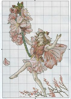 Cross stitch - fairies: Almond blossom fairy - Cicely Mary Barker (chart)