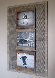 I antigued an old wood board, cut m… DIY Industrial boys room wall photo collage. I antigued an old wood board, cut metal, then mod podged black & white photos to individual wood boards.