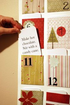 Advent calendar. Use wrapping paper pieces to make pockets?