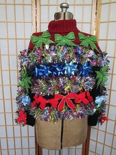 Ugly Sweater Ideas 13 Ugly Holiday Sweaters That Are Almost Too Ugly To Wear Cute Christmas Outfits, Diy Ugly Christmas Sweater, Ugly Sweater Party, Holiday Sweaters, Christmas Time, Christmas Crafts, Christmas Ideas, Christmas Clothes, Christmas Wrapping