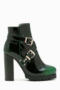 Mercer Buckled Ankle Boot @ Nasty Girl.  3 1/2 inch heels, Stunning shiny black-green leather
