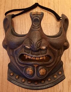 Samurai Menpo Mask  Brown Leather Style by FAUSTandCOMPANY on Etsy