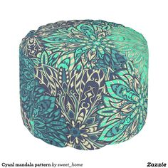 Cyanl mandala pattern pouf  #Home #decor #Room #Interior #decorating #Idea #Styles #Traditional #Boho #Indian #Vintage #floral #motif