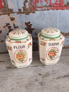 Green trim Range Shakers Sugar Flour colorful by MulfordCottage