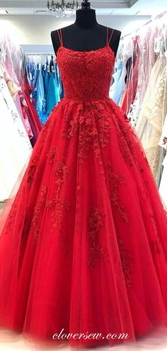Homecoming Dresses Long, Prom Dresses For Teens, A Line Prom Dresses, Ball Dresses, Dance Dresses, Graduation Dresses, Red Lace Prom Dress, Pretty Prom Dresses, Tulle Lace