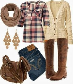 Scarf, shirt, sweater, jeans, long boots, pants and hand bag combination for fall