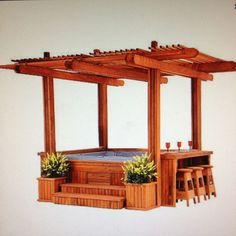 Cabana Spa Gazebo for Hot Tub - it would fit in my backyard & I'll bet my DH could build it. Hot Tub Pergola, Hot Tub Backyard, Backyard Patio, Jacuzzi Outdoor Hot Tubs, Backyard Cabana, Garden Pool, Whirlpool Pergola, Outdoor Spaces, Outdoor Living