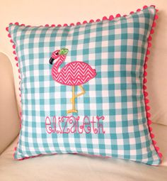 Appliqued Gingham Flamingo Pillow 14 x 14 by peppermintbee on Etsy, $54.00