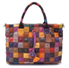 They are from leather, but great inspiration for patchwork bags...