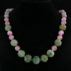 Important Antique Chinese Tourmaline and Carved Jade Necklace, Jade from raretreasures on Ruby Lane