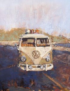 "You can even paint your travel vessel as does Santiago Michalek in this oil painting on panel ""'61 Mango Westfalia."""