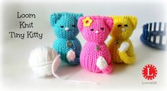 LOOM KNITTING Tiny Kitty Cat on Small Circle Looms Pattern Amigurumi. How to Loom knit a doll. Small stuffed kitten with a small circular loom. I used the blue Knifty Knitter but any round loom 5 inches in diameter will work fine. Round Loom Knitting, Loom Knitting Projects, Loom Knitting Patterns, Knitting Videos, Knitting Toys, Free Knitting, Knitted Cat, Knitted Dolls, Loom Bands