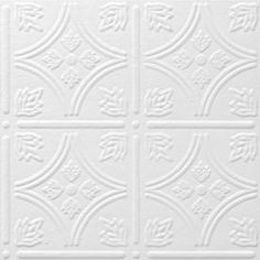 Shop Armstrong Tin Look Tintile HomeStyle 40-Pack White Patterned Surface-Mount Acoustic Ceiling Tiles (Common: 12-in x 12-in; Actual: 11.985-in x 11.985-in) at Lowes.com