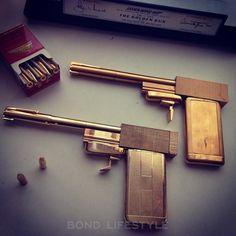 SD Studios Golden Gun (top) and Factory Entertainment Golden Gun (bottom) from Antens Archive Epic Movie, Movie Cars, Bond Series, James Bond Style, Custom Metal Fabrication, Spy Gear, Old Tv, Guns, Gadgets