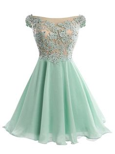 A-line Off-the-shoulder Short Mint Chiffon Homecoming Dress With Appliques