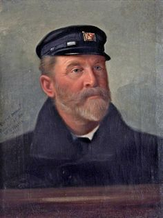 """A Sea Captain (Captain H. Hayes, Pacific Steam Navigation Company)"" by W H Walton (active Merseyside Maritime Museum Sea Captain, Captain Hat, A Sea, Maritime Museum, Art Uk, Tall Ships, Male Portraits, Sailors, Painting"