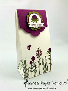 jpp - Flowering Fields Geschenktüte / Giftbag / Blumen Geschenk Verpackung / Stampin' Up! Berlin / Edles Etikett / Etikett Kollektion / Kleine Wünsche / Giftbag Punch Board www.janinaspaperpotpourri.de