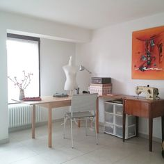 Great light in this sewing studio that includes a vintage BERNINA! #Sewing #studio