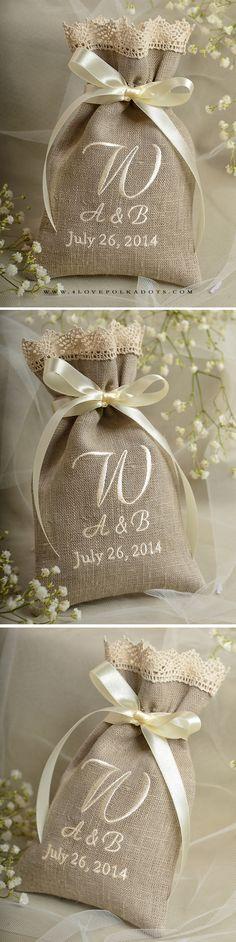 Natural Linen Wedding Favor Bag with Embroidery #countrywedding #rustic #barn #handmade