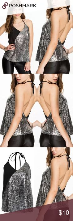Sexy Black Sequin Glitter Halter Tank Top Brand new fits a small Tops Tank Tops