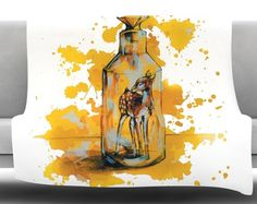 Vintage Bottled Deer by Kira Crees Fleece Blanket