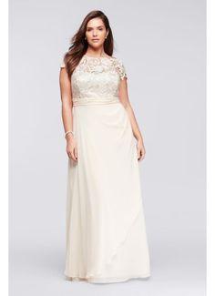 Cap Sleeve Lace Long Plus Size Mesh Dress 183146DW