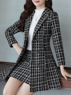 Checkered/plaid Work Coat With Skirt Two-Piece Set – Work Fashion Trend Fashion, Work Fashion, Fashion Models, Fashion Design, Fashion Coat, 80s Fashion, Fashion Fall, Fashion Rings, Fashion News