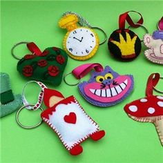 Mad Hatter Felt Keyring Patterns  For sale PDF patterns. Includes pictures (not to scale) of each design.