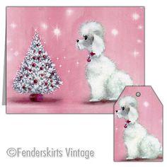 Retro Digital 1950s Pink Poodle Christmas Cards